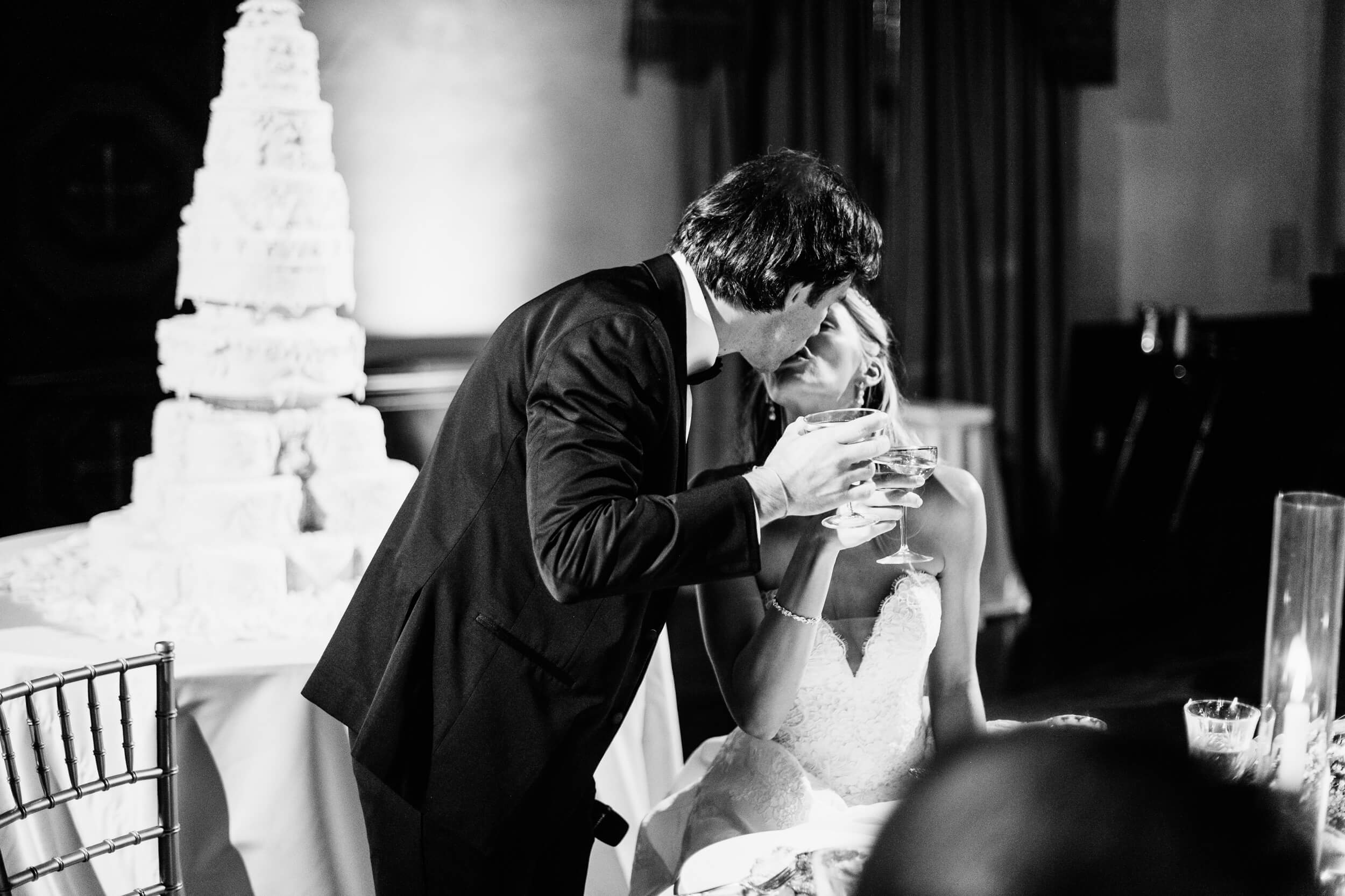 bride groom kiss toast the prado grand ballroom wedding