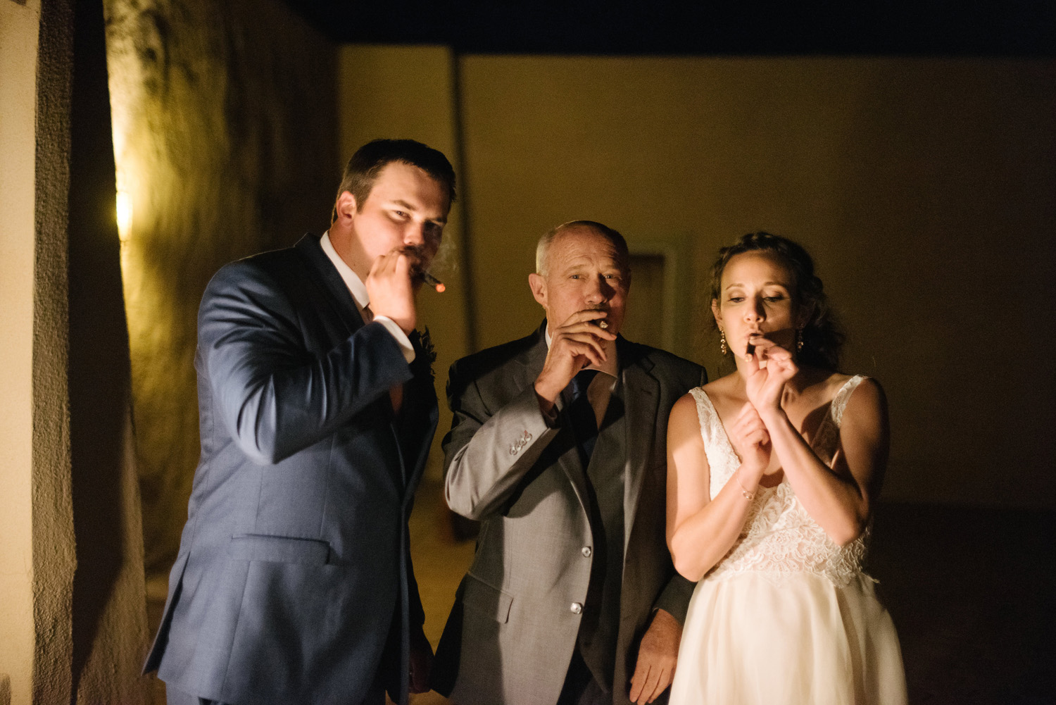 groom father bride smoke cigars