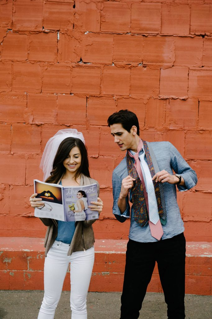 bride and groom funny engagement photo conept