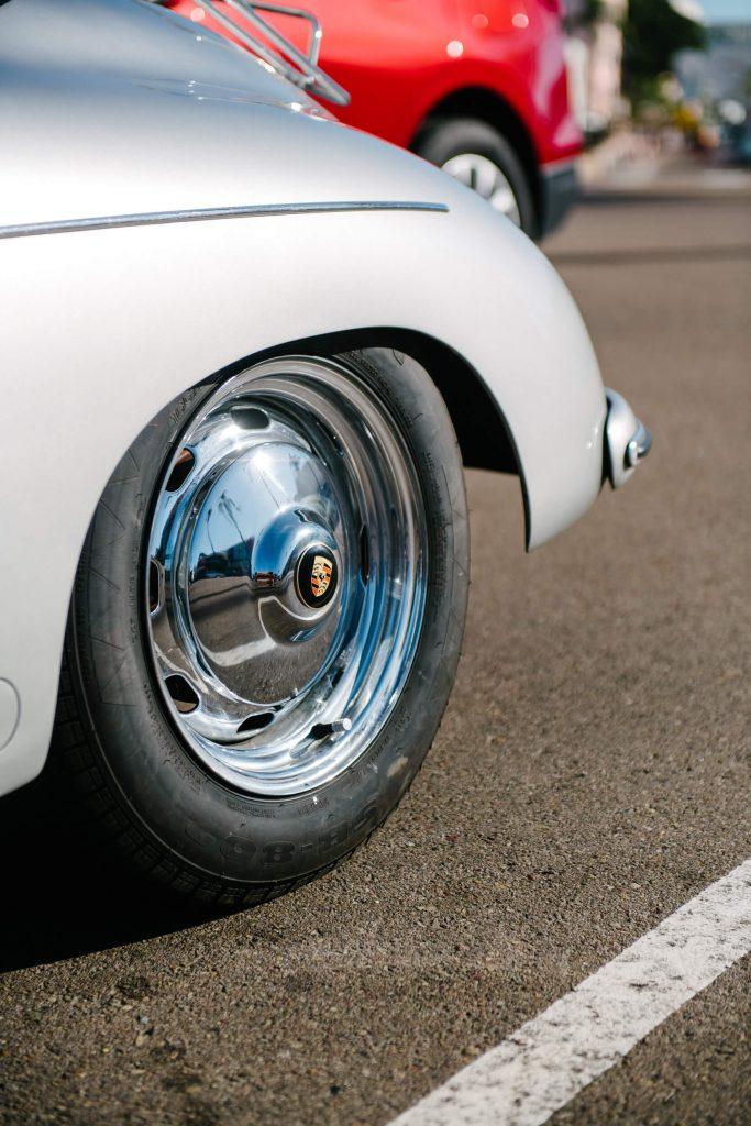 wheel of vintage porsche speedster la jolla