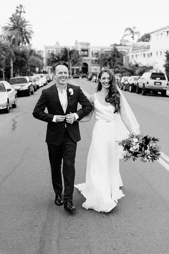 bride groom walk olivetas street darlington house la jolla wedding