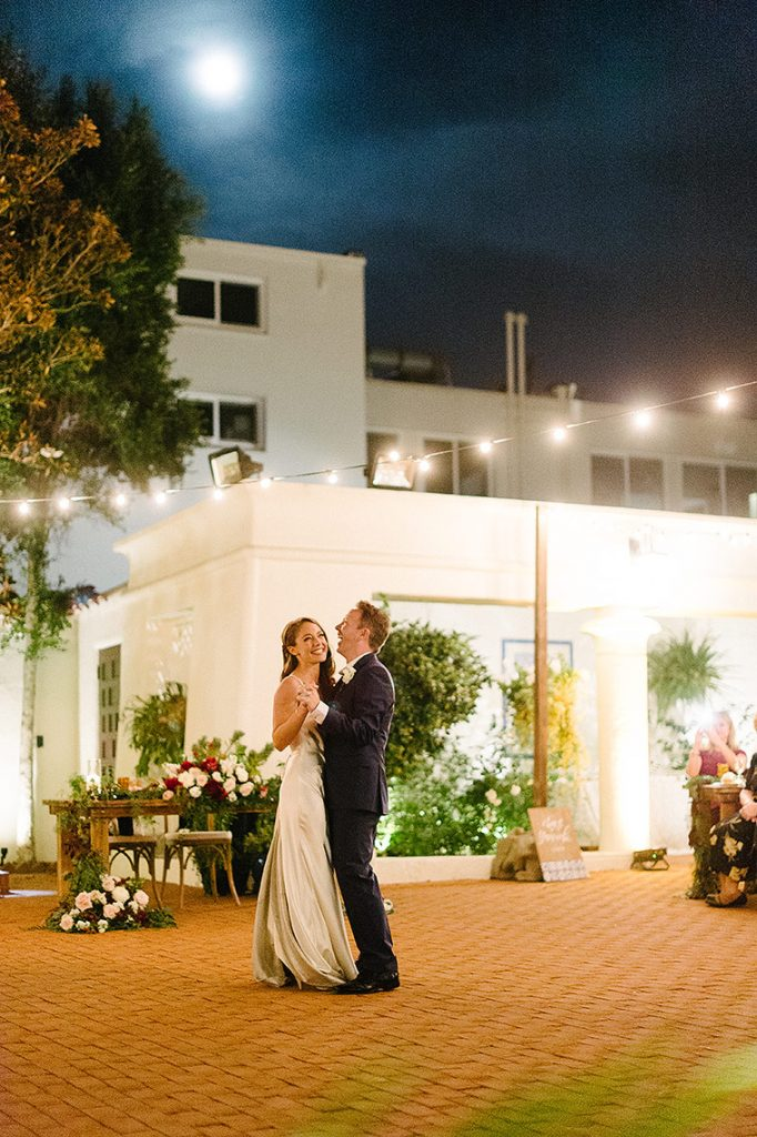 bride groom first dance under full moon darlington house la jolla wedding