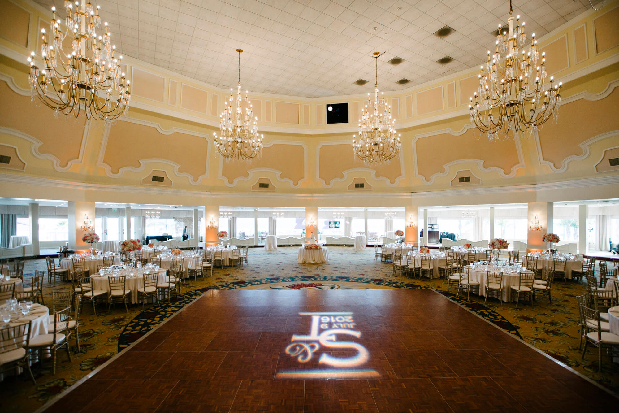 decorated ballroom at hotel del wedding reception