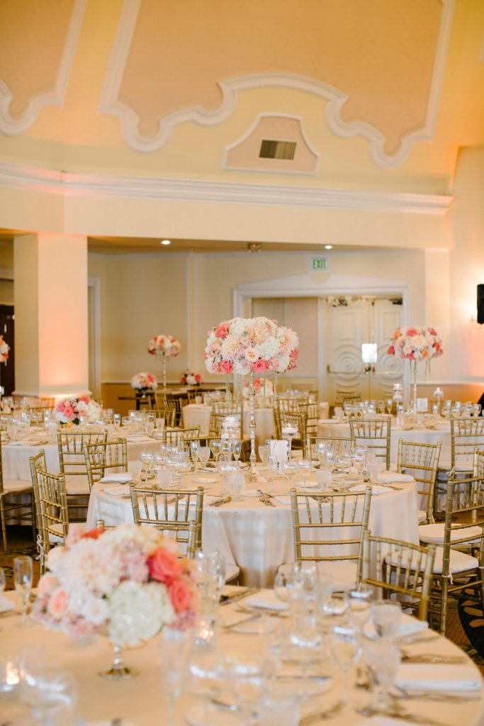 centerpieces in tall vases hotel del coronado ballroom