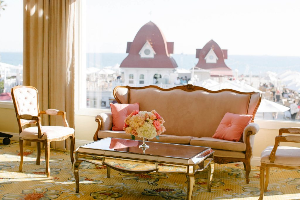 lounge furniture with floral centerpiece hotel del coronado ballroom reception
