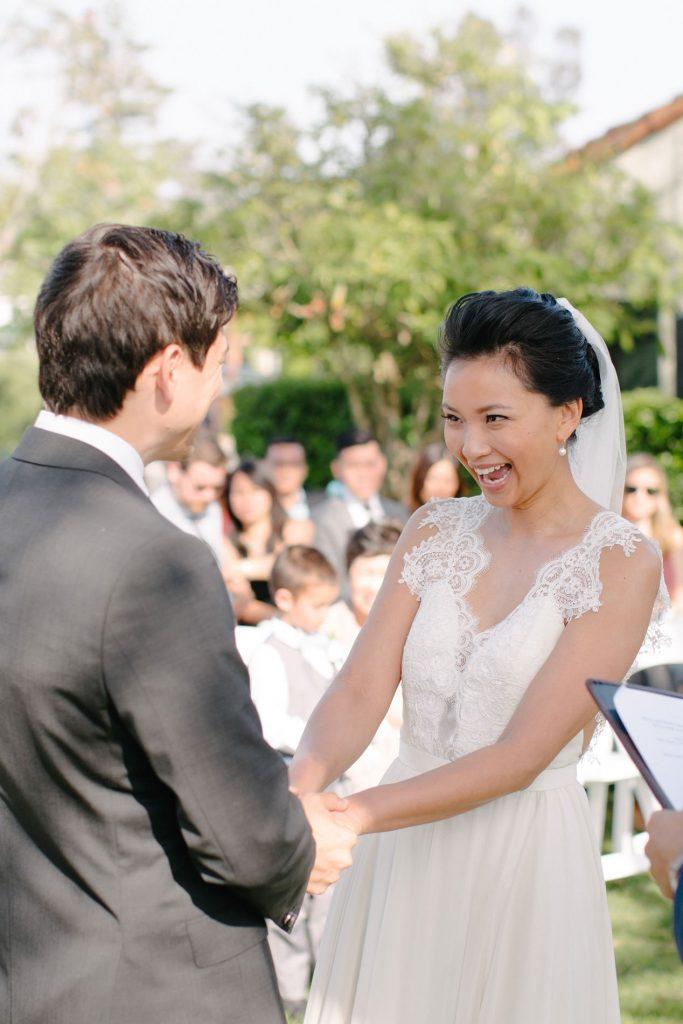 bride smiling after wedding ceremony