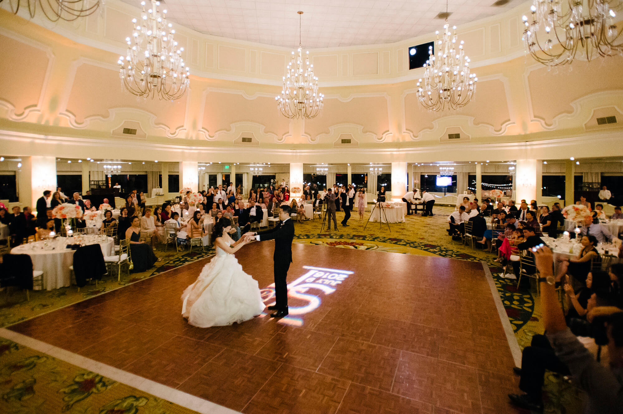 bride groom first dance hotel del wedding reception ballroom