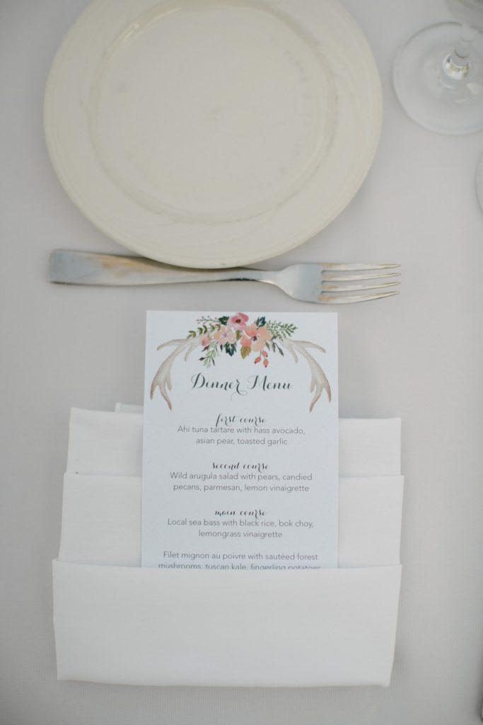 dinner menu garden wedding