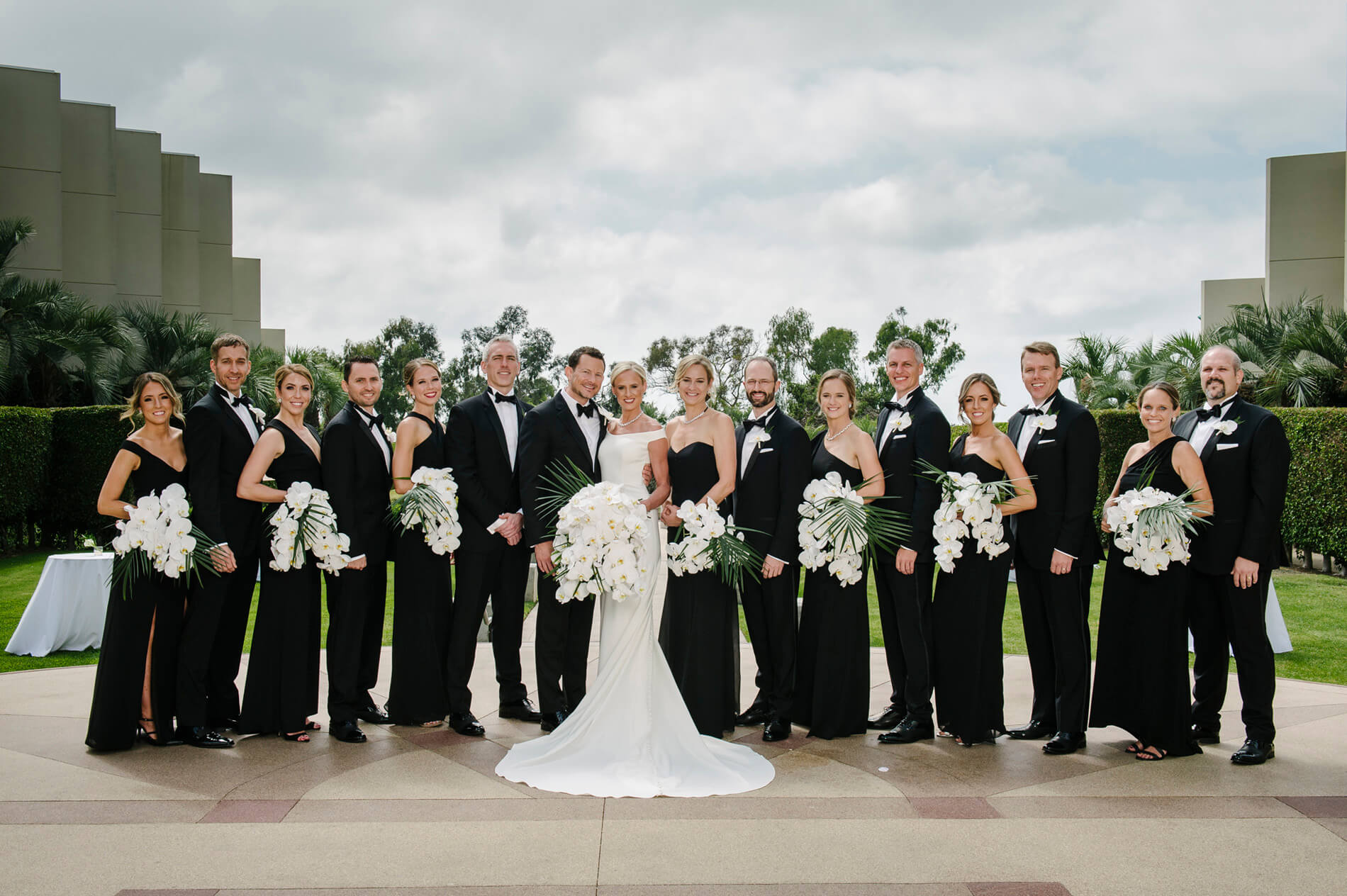 bridal party on ballroom terrace hilton torrey pines wedding