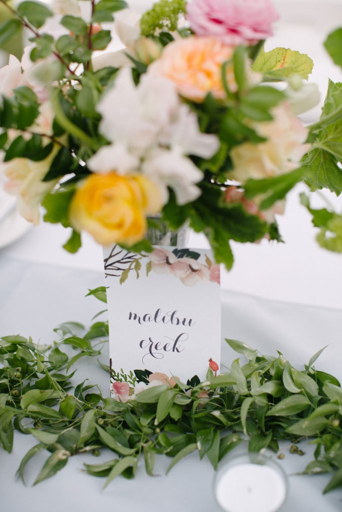 table number attached to centerpiece
