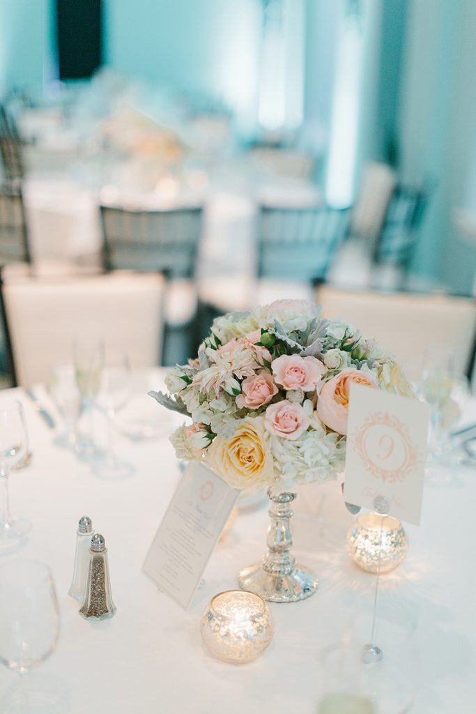 colorful floral centerpiece congress hall wedding reception