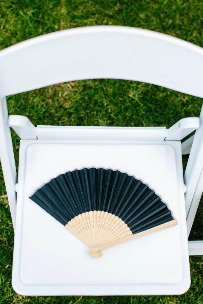 folding fan sitting on chair hilton torrey pines