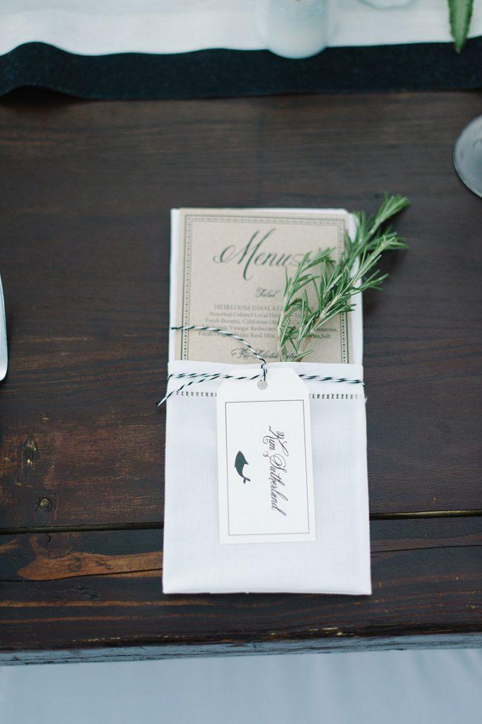 dinner menu and escort card with greenery st malo beach wedding