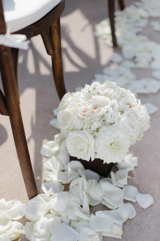 white flowers in aisle pacific terrace lauberge del mar wedding