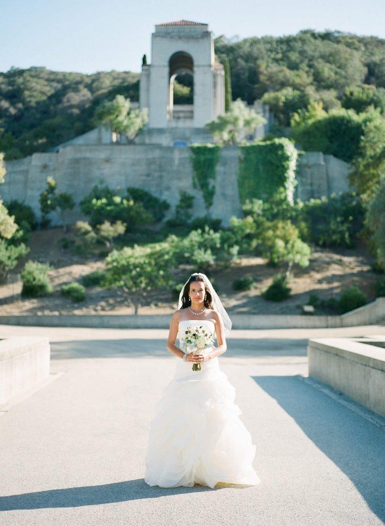 bride portrait in front of wrigley memorial catalina island
