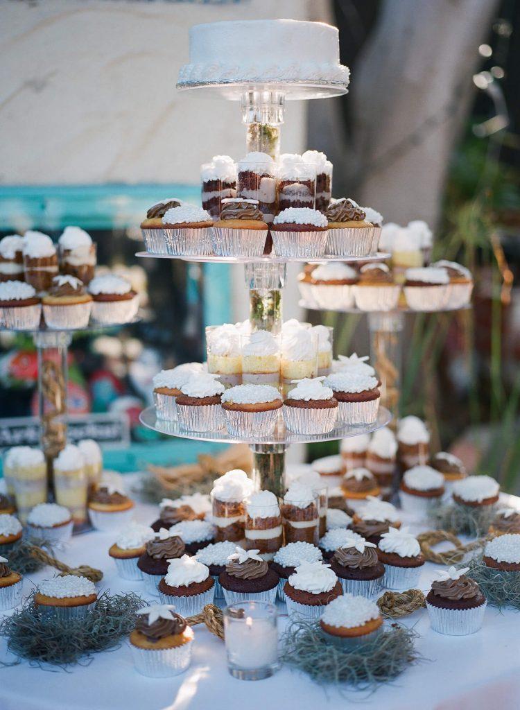 cupcakes on tiered tray catalina island wedding