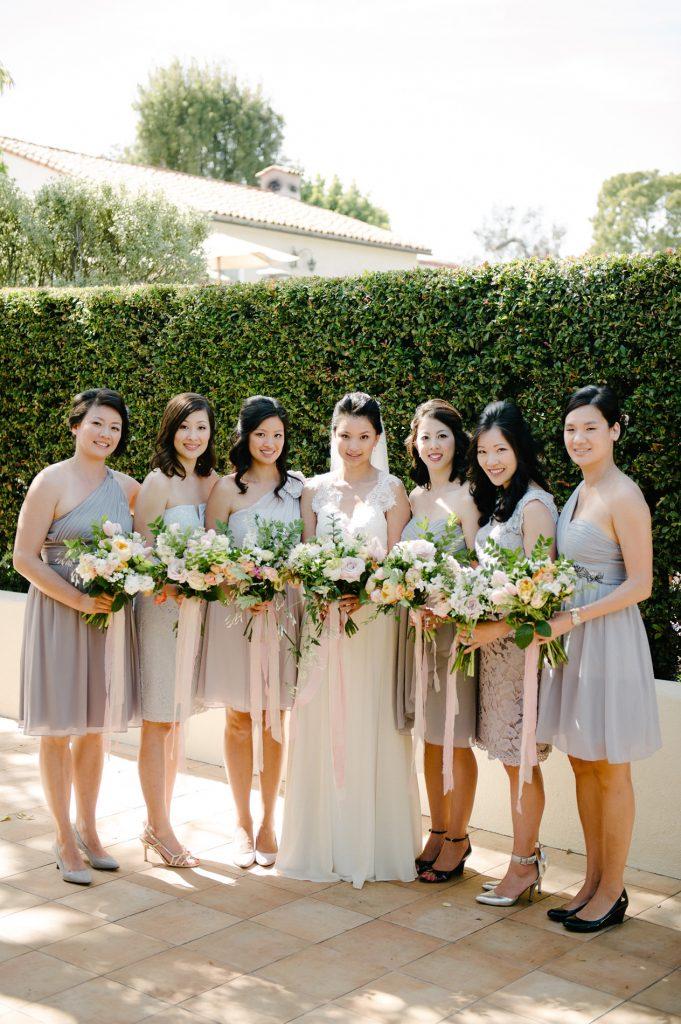 bride and bridesmaids posing inn at rancho santa fe wedding