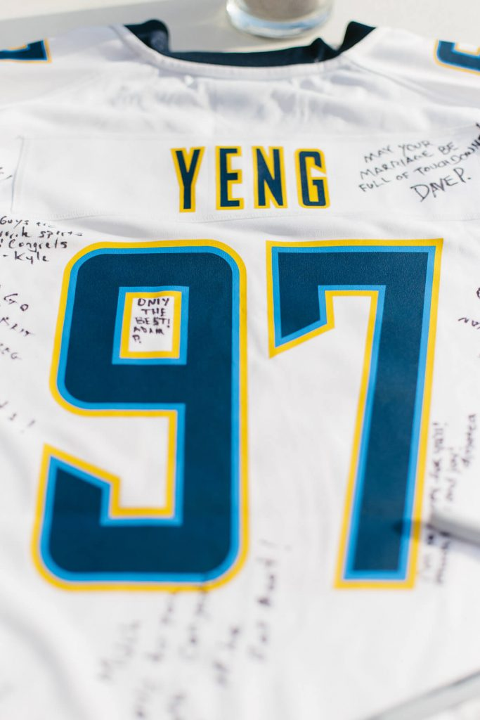 signatures on custom chargers jersey with grooms last name