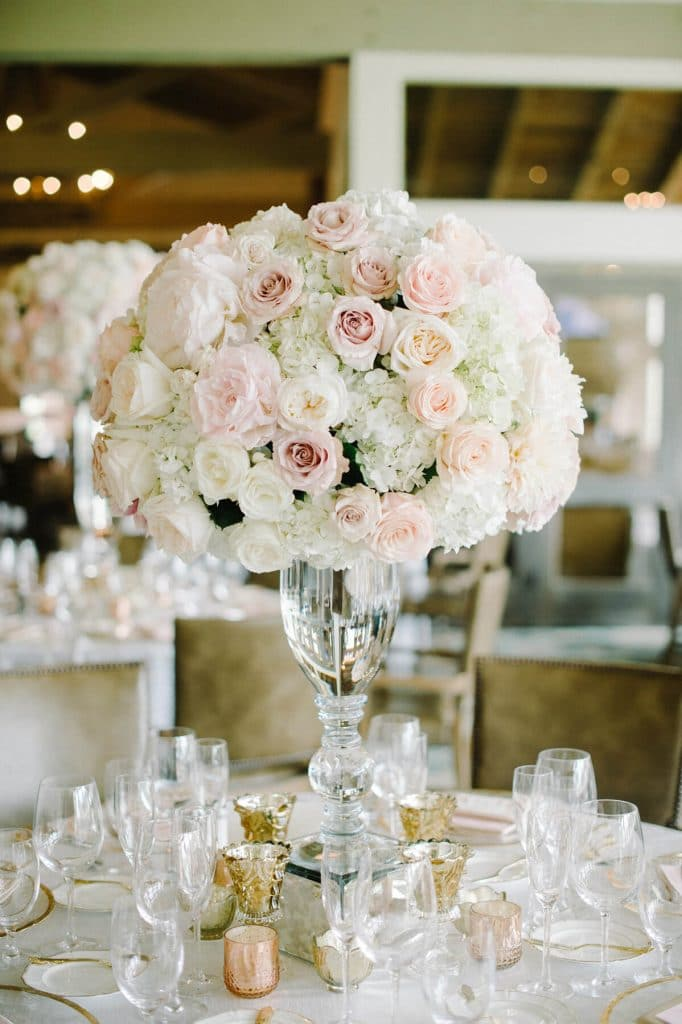 white and pink bouquet in hurricane vase classy country club wedding san diego