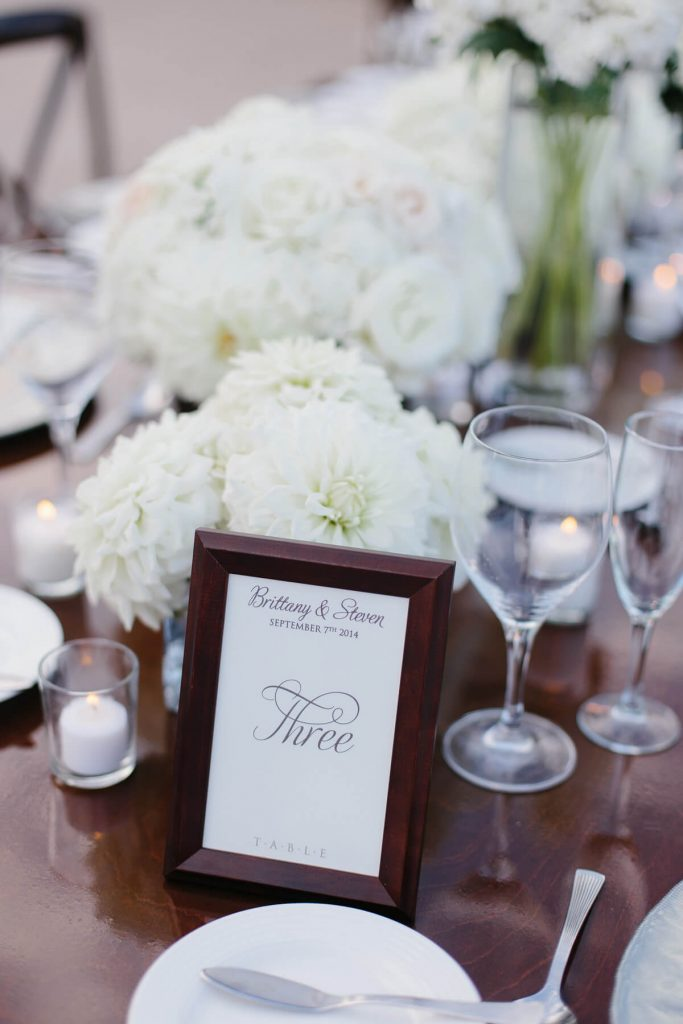 table number in wooden frame