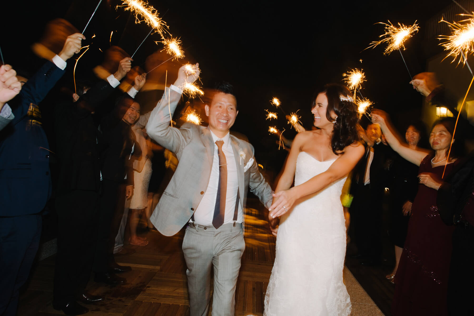 sparkler exit san diego beach wedding lauberge del mar