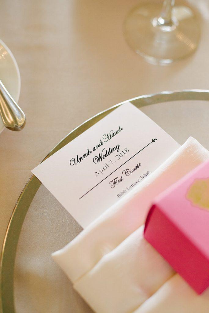dinner menu place setting la valencia hotel wedding