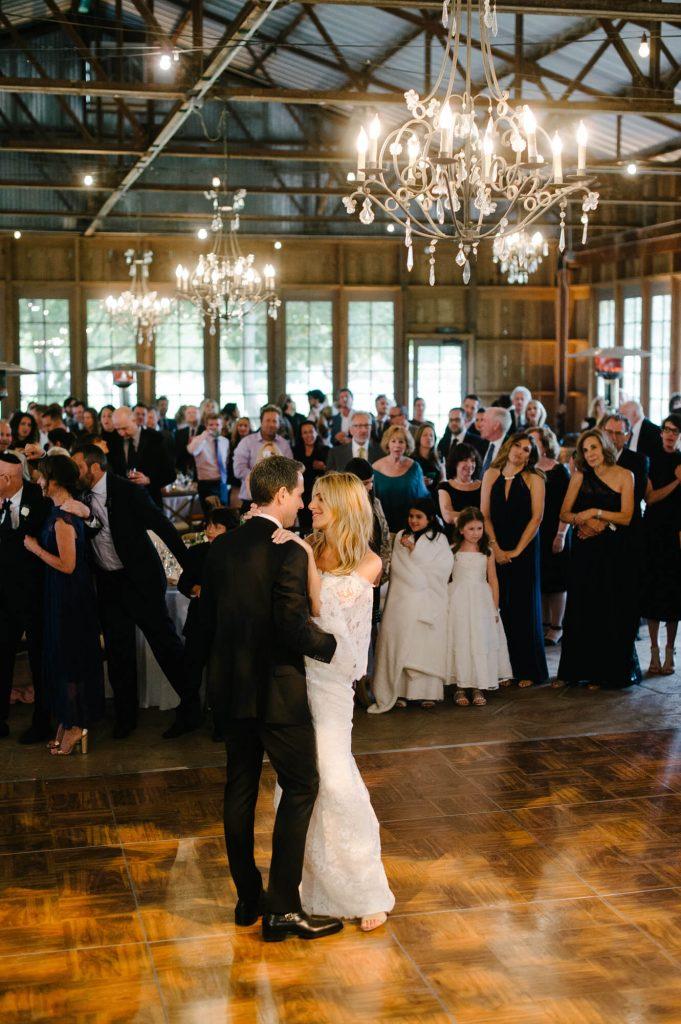 bride and groom first dance crossroads estate