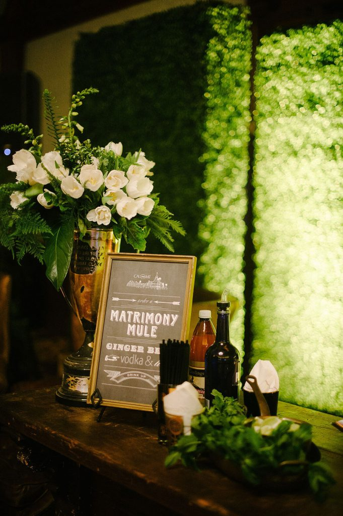 matrimony mule signature cocktail coronet room wedding reception