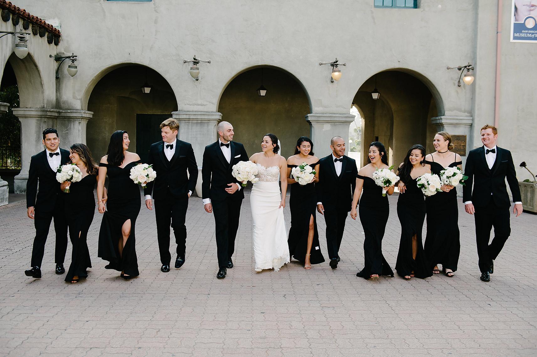 formal bridal party walks in balboa park