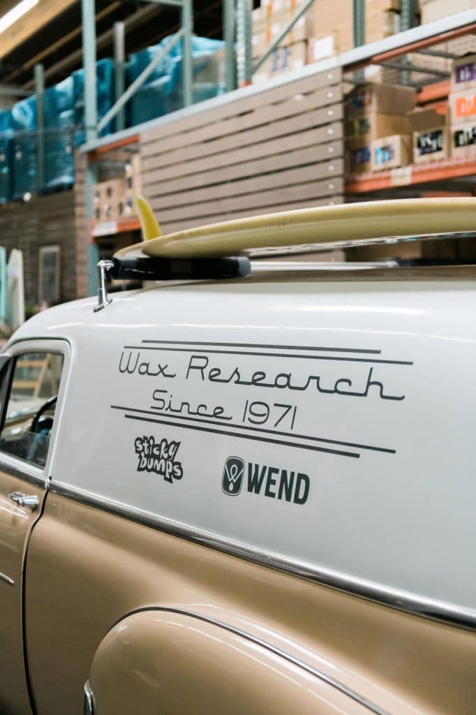 vintage surf truck at wax research factory