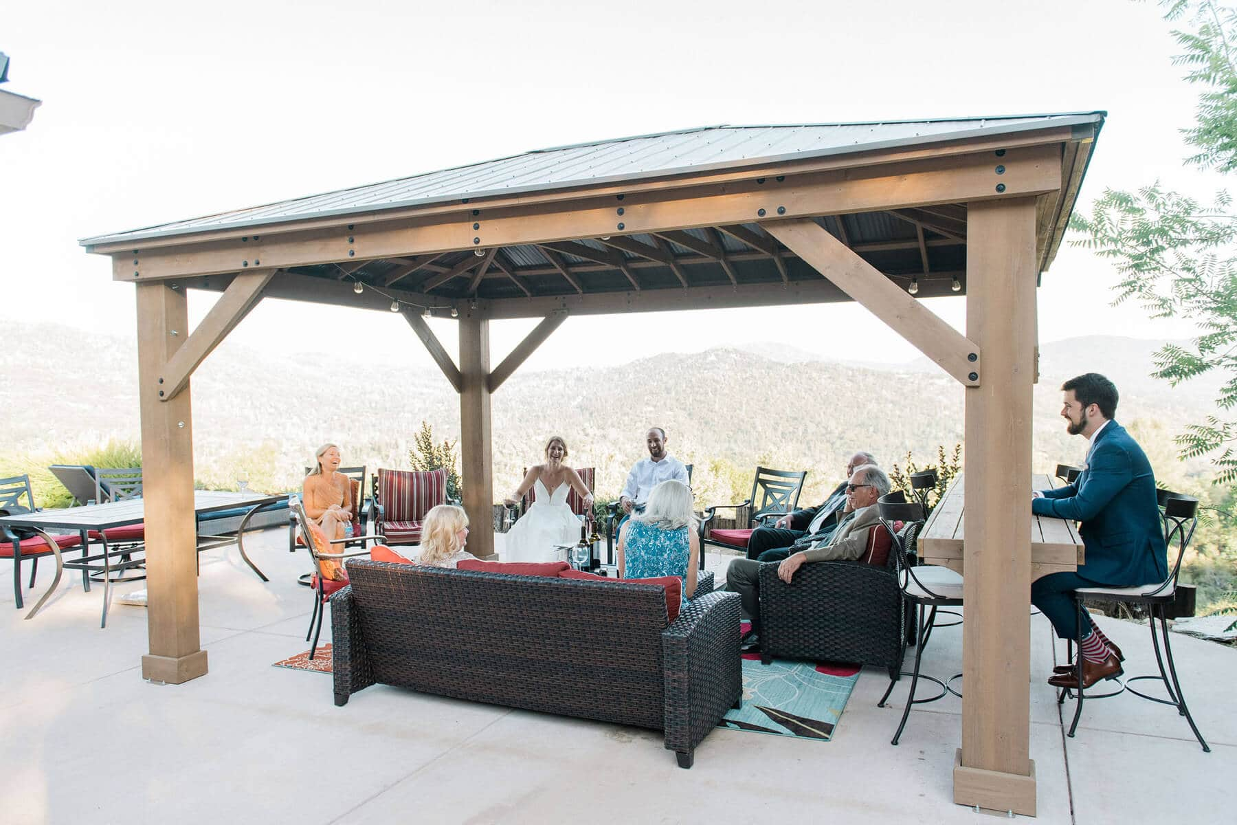 intimate wedding reception outside at oakhurst private residence