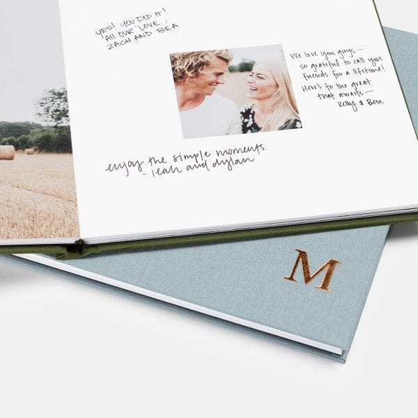 engagement photos displayed in custom guestbook